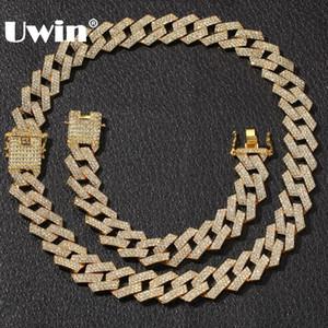 UWIN NE + BA 20 milímetros Cadeia Miami Prong cubana 3 Linha Ouro Full Color Iced Out Pedrinhas Colar Bracelet Mens Hiphop Set Jóias