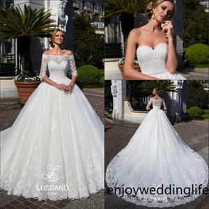 2020 Strapless Lace A Line Wedding Dresses Off The Shoulder Long Sleeves Lace Bolero Beaded Sash Court Train Wedding Bridal Gowns
