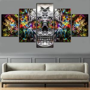Cores abstratas Artístico Crânio, 5 Peças Cópias Da Lona Arte Da Parede Pintura A Óleo Decoração de Casa (Sem Moldura / Emoldurado)
