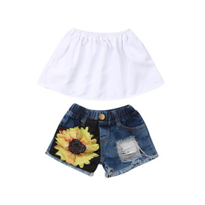 Baby Girl Summer Clothes Set 2019 Fashion 2Pcs Outfit Sleeveless Ruffles Wrap Chest Crop Tops + Girasoli Shorts con foro strappato Set