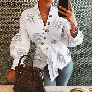 Vonda 2020 Uzun Fener Kol Bluz Kadınlar Gömlek Ofis Lady Bayanlar İş Giyim Bayan V Yaka Ve Bluzlar Kadın blusas Tops