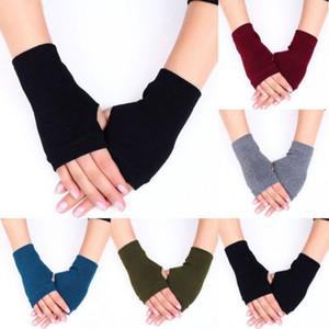 Manchettes extensibles Gants sans doigts en coton uni casual mitaines femmes Vêtements chauds une paire