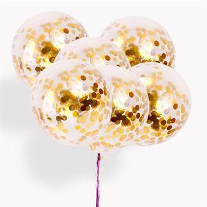 Golden Confetti Ballons 12 Pouces champagne papier d'or Ballons Argent Rideaux Gland Décor De Mariage Baby Shower Party Gonfleur Ballon À Air