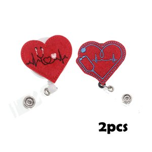 New Design Mix Design Cute Medical Red EKG Retractable Nurse Felt Id Badge Holder For Gift