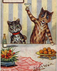 Louis Wain Cats Champagne Toast Fun Cat Painting Hoffman Handpainted HD Print Art Oil Painting High Quality Canvas Home Wall Decor A102