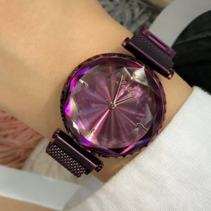 Fashion Purple Dial Ladies Wristwatch Personality Rose Gold Mesh Strap Magnet Buckle Quartz Women's Watches gift for women reloj