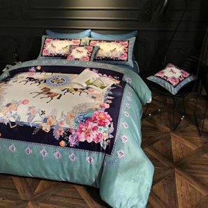100 Cotton Luxo Estilo Europeu 6pcs Marca cama Set cama king Queen Size Folha cavalo capa de edredão e fronhas