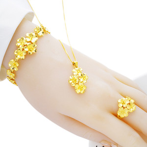 Vietnam Alluvial Gold Womens Flower Ring Brass Gold-Plated Flower Necklace Bracelet Three-Piece Suit to Install Wedding Accessories