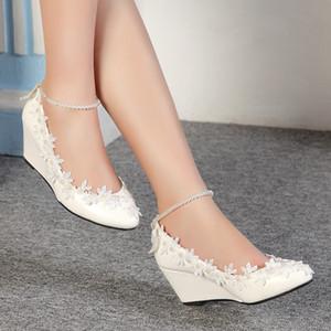 Princess Perlen Lace Floral Lady Keil-Schuhe Hochzeit Braut Frauen New High Heels