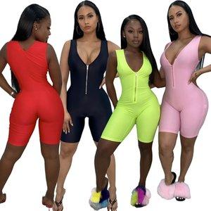 Großhandel Frauen Fitness-Overall-Spielanzug Yoga-Hosen-Sommer-Sleeveless Reißverschluss-Pullover mit Stehkragen dünne dünne weibliche beiläufige Bodysuit Outfits 869