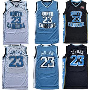 Talones masculino de la NCAA North Carolina Tar 23 Michael Jersey UNC Escuela de Baloncesto jerseys Negro Blanco azul del envío libre