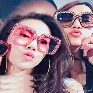 crystal square sunglasses PeClou Oversized Luxury Crystal Square Sunglasses Women Diamond Gradient Sun Glasses Men Mirror Lens