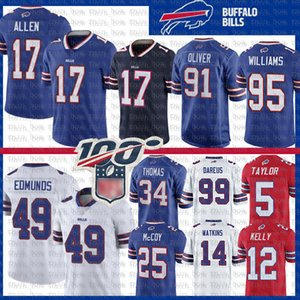 17 Josh Allen Buffalo Football Jersey Bill 49 Tremaine Edmunds Jim Kelly Oliver Kyle Williams Thurman Thomas Tyrod Taylor Tre'Davious Weiß