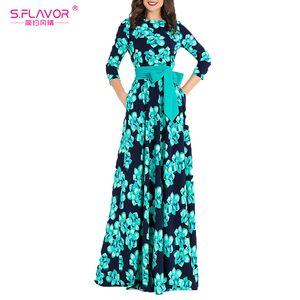 S. flavor frauen böhmischen langes kleid heißer verkauf frühling sommer mode druck vestidos für weibliche gute qualität frauen elegante dress