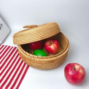 Round Rattan Tea Storage Box Lid Fruit Storage Boxs Wicker Baskets Rattan Storage Flower Basket Candy Box Accessories
