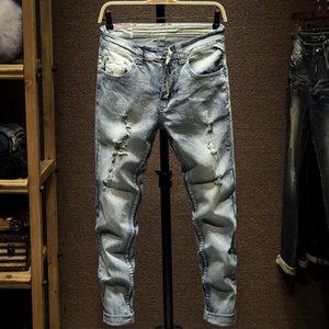 I nuovi Mens jeans lavati Light Blue Hole strappato Zipper Hip Hop dei pantaloni dei pantaloni della matita: Uomo