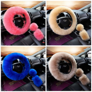Winter Car Steering Wheel Cover Multi Colors Hand Brake Covers Artifical Wool Gear Shift Sleeve For Cars Accessories 3pcs On Set 32yca E1