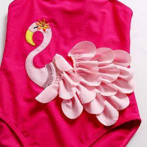 Girls Cute 3D Swan One Piece Swimsuit Black Pink Red Baby Romper Swimwear Beach Pool Swimming Bathing Suit Bikini