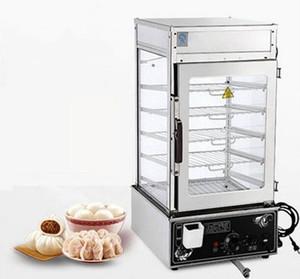 vitrina de cocina de acero inoxidable comercial de 5 capas, congelada, cocida al vapor, vapor, calentador de alimentos, vitrina