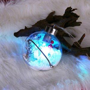 Pil Plastik Şeffaf Topu Süsleme Dekoratif LED Işık Bırak Süsler Asma Yılbaşı Ağacı Powered