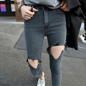 Mozuleva Kore tarzı Delikler Sıkı-Fit Capri Skinny Jeans ile 2020 Yaz İnce Ultra streç kot Yüksek belli Diz Gözyaşı Büyük