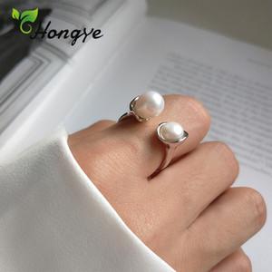 Hongye réglable Bague perle baroque chic en perles de mariée mariage bijoux main personnalisé cadeau pour un ami Ladies Anneaux Argent