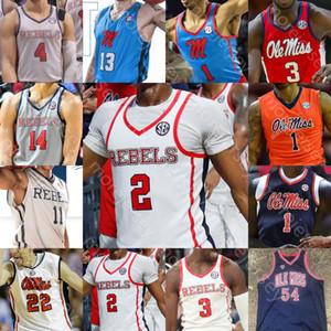 Özel Ole Miss İsyancılar Basketbol Jersey NCAA Kolej Breein Tyree Devontae Shuler Blake Hinson KJ Buffen Khadim Sy Terence Davies