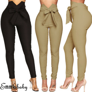 2019 otoño moda mujeres alta cintura pantalones casuales moda damas bowknot long delgado pantalones delgado vendaje elástico lápiz pantalones