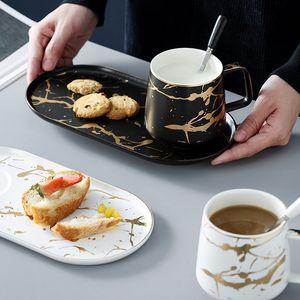 MUZITY Keramik Milch-Becher mit Frühstücksteller Porzellan MarbleTea Tasse und Untertasse Eine Person Set T200506