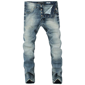 2019 Italian Style Fashion Men's Jeans Blue Color Slim Fit Cotton Classical Jeans Casual Pants Brand Designer Buttons Men