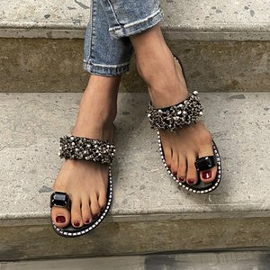 Retro Bling Non-slip Beach Sandals Ladies Outdoor Lazy Shoes Fashion Women Rome Summer Slippers Beach Slides Footear Big Size 43