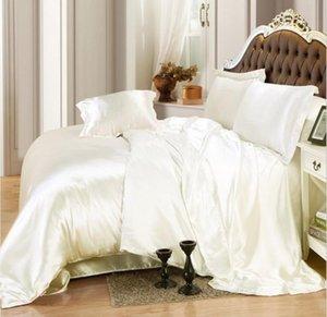 brancas de seda suave cetim imitar jogo de cama de seda duvet lençol cobertura fronhas de linho cor sólida colcha de casamento da princesa