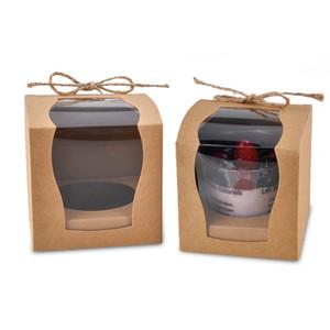 12pcs / Lot кекс boxesCandy Коробка с окном ПВХ Рождественская вечеринка день рождения Свадебный Kid Подарок коробка конфет Крафт-бумага рождественских поставок
