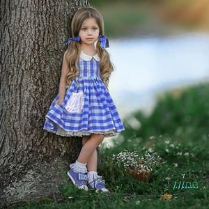 Kızlar Elbiseler Yaz 2020 için Bebek Kız Beyaz Mavi Ekose Izgara Baskılı Preppy Stil Dantel Prenses Elbise Çocuk Çocuk Giyim CZ416