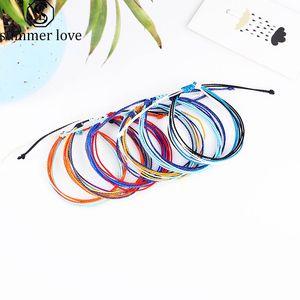 A mano di cera Discussione Woven Bracelets Multilayer tessuto braccialetto di amicizia della stringa della cera Bracciali impermeabile regolabile donne del braccialetto intrecciato