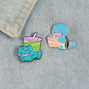 Evolutionary pet frog tortoise enamel pins Pearl milk tea Boba bages Clothes backpack Lapel pin brooches Cartoon jewelry gifts for friend