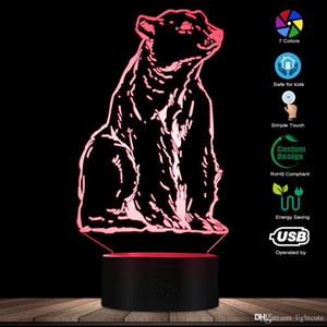 الحيوان الطوطم الدب القطبي الخفيفة ليلة 3D تأثير بصري الوهم مكتب والدب الأبيض مصباح غرفة كيد الليل الحيوان تحت عنوان مصباح