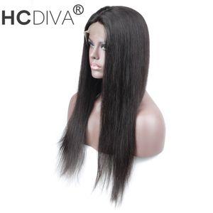 HCDIVA 13 * 3 encajes pelucas frontal brasileña del cabello humano para las mujeres Negro Color natural pueden comprar 10 y 12 pulgadas no del cordón de Remy pelucas de Bob