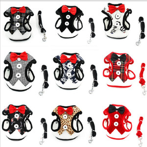 small dog harness and leash set dog Vest Harness Bowtie Gentleman dog Harness for Small Cat and Puppy