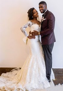 Customize Vintage African Long Sleeves Mermaid Wedding Dress With Detachable Train Luxury Off Shoulder White Lace Applique Plus Size Bridal