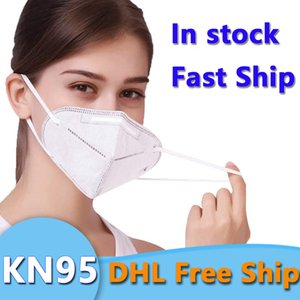 DHL di trasporto 50pcs maschere monouso faccia 3-Layer maschere antipolvere PM2.5 sicurezza KN95 Maschere Uomini Donne monouso viso