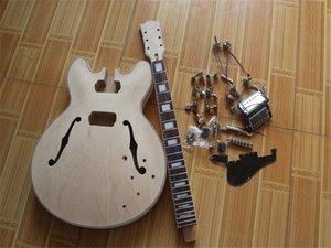 Factory custom semi finished product unpainted electric guitar,map veneer, rosewood fingerboard