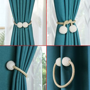 1Pc Pearl Magnetic Curtain Clip Tieback Home Decor Buckle Curtain Holder Hanging Ball Rope Straps Holdbacks Room Accessories