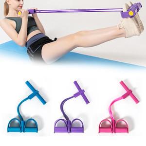 Multifuncional 4 tubos de Fitness Elastic Sit Up Pull Corda Abdominal Exerciser Home Gym Equipamentos Esporte Tração da corda Pedal tornozelo Extrator