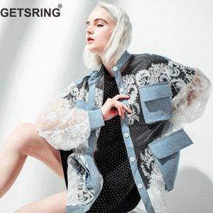GETSRING mujeres chaqueta de encaje costura chaqueta de mezclilla perspectiva Sexy Jean mujeres suelta protector solar Tops moda mujer abrigo