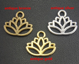 50 pcs Or Argent Bronze Antique Fleur de Lotus Pendentifs Charms Fit DIY Bracelet Collier de bijoux Constats