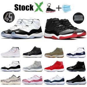 Les nouveaux hommes 11 chaussures de basket-ball 11s Jumpman Bred Concord 45 Space Jam chapeau et robe Hommes Designer Chaussures Gamma Bleu Déchargée Baskets femme