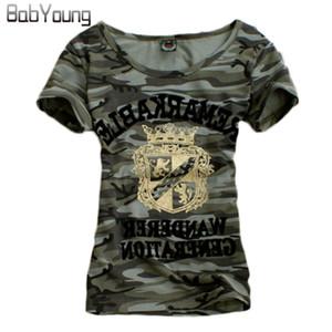 Babyoung Verano Tops Patrón Crecido T Shirt Mujeres Ejército Camuflaje Uniforme Militar Camiseta Femme Plus Size Camisetas Mujer 4xl Y19051301