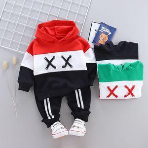 Çocuk Giyim seti Bebek Erkek Spor Kazak takım elbise pantolon 2019 İlkbahar Sonbahar Renk Çocuk Hoodie kazak pantolon 2 ADET Eşofman