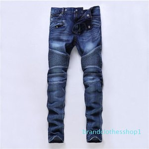 New Designer Mens Jeans Skinny Pants Casual Jeans Men Fashion Distressed Ripped Slim Motorcycle Moto Biker Denim Hip Hop Pants
